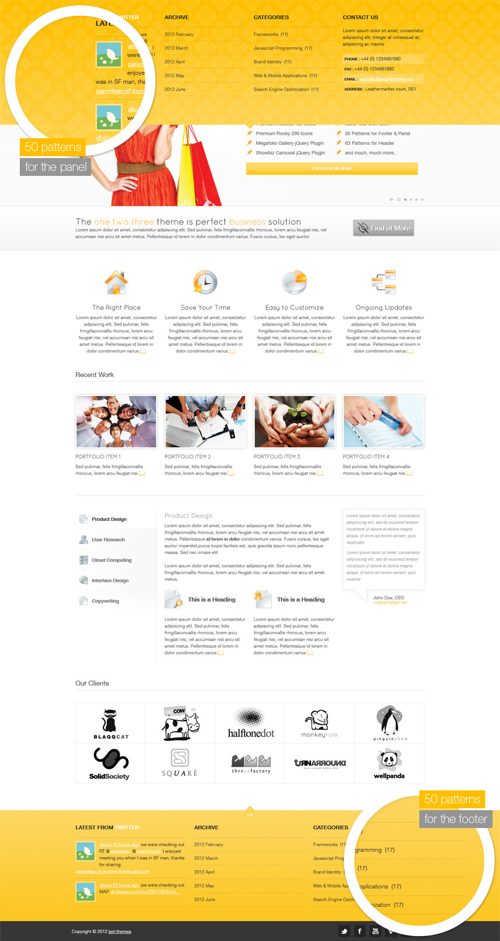 123Theme Premium Html/Css Site Template - panel footer pattern