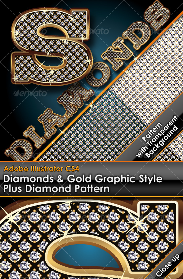 GraphicRiver Diamonds & Gold Graphic Style Plus Diamond Pattern 93818