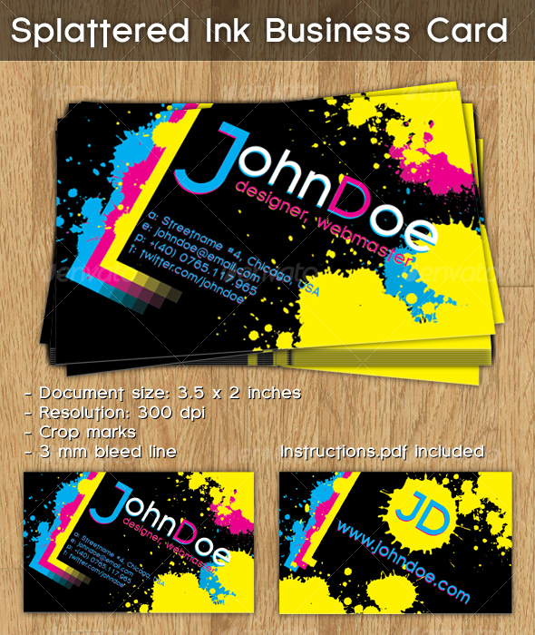 Splattered Ink Business Card - Grunge Business Cards