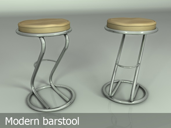 3DOcean Bar stool silver & leather 103391