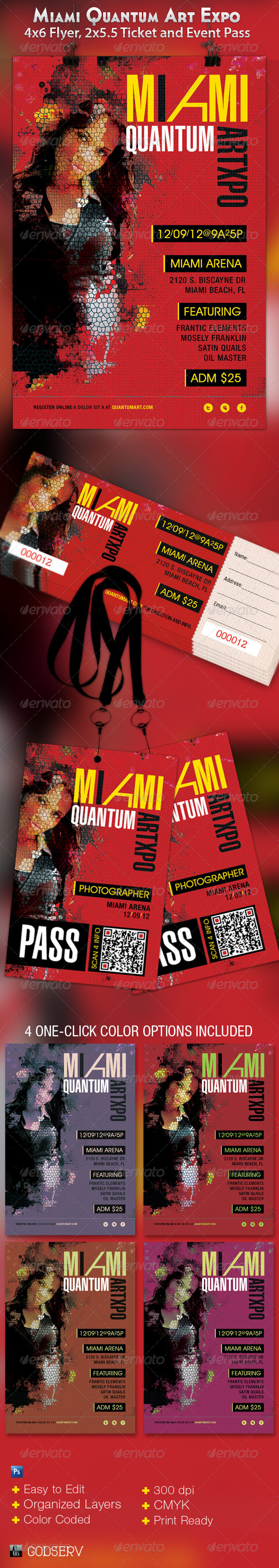 Miami Art Expo Flyer, Ticket and Event Pass - Events Flyers