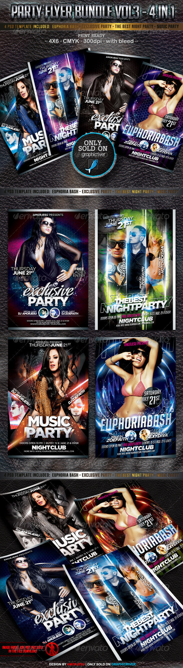 Party Flyer Bundle Vol3 - 4 in 1 - Events Flyers