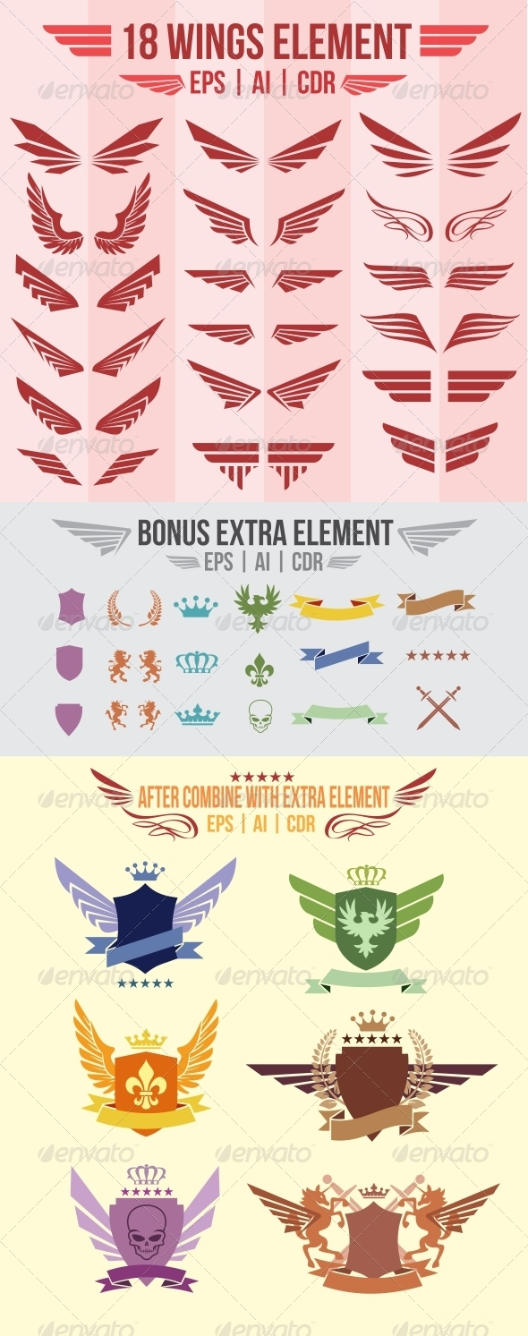 GraphicRiver 18 Wings Element 2865715