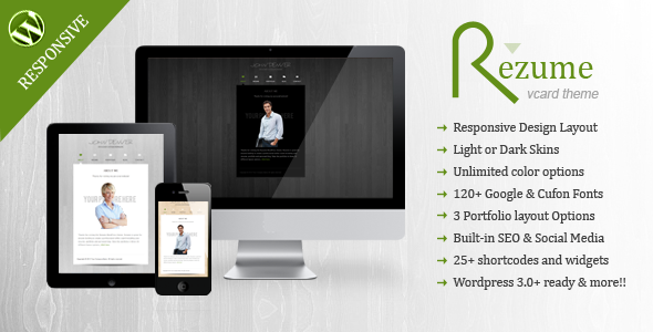 ThemeForest Rezume Wordpress vcard theme 2805810