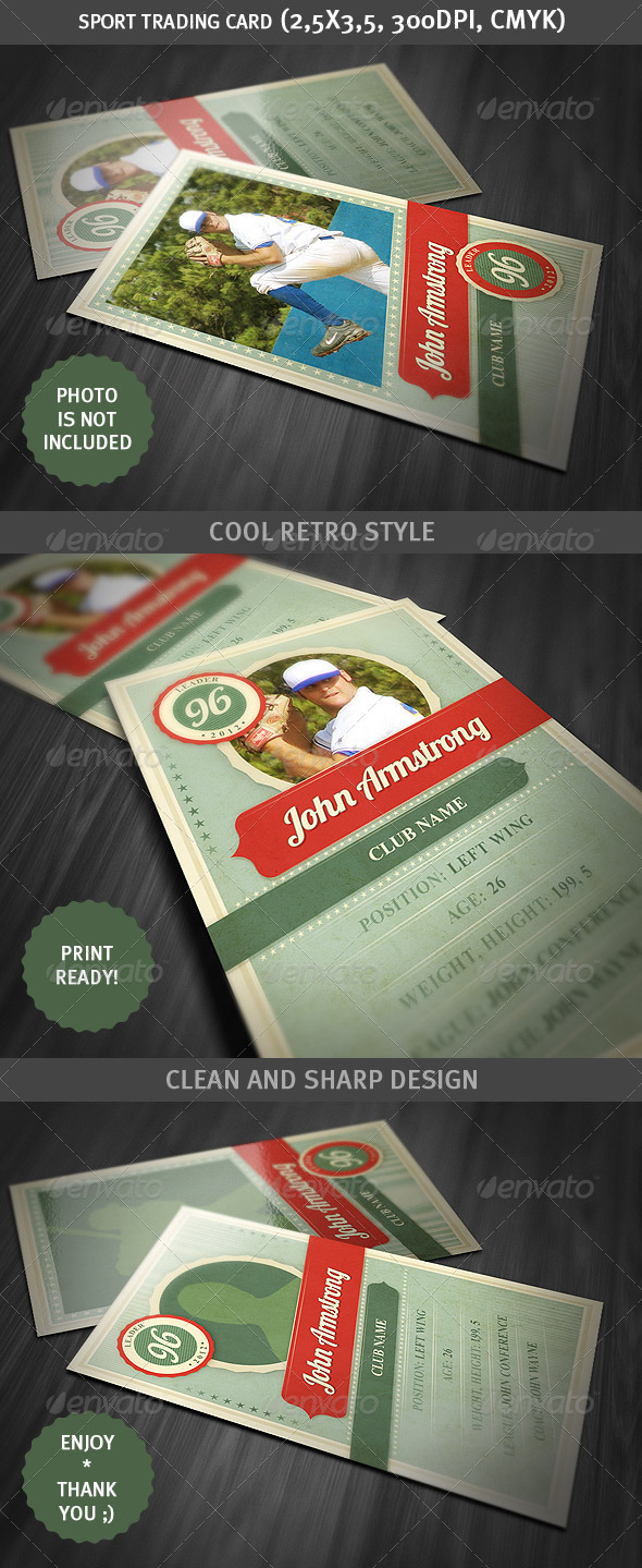 Sport Trading Card - Retro Style - Miscellaneous Print Templates