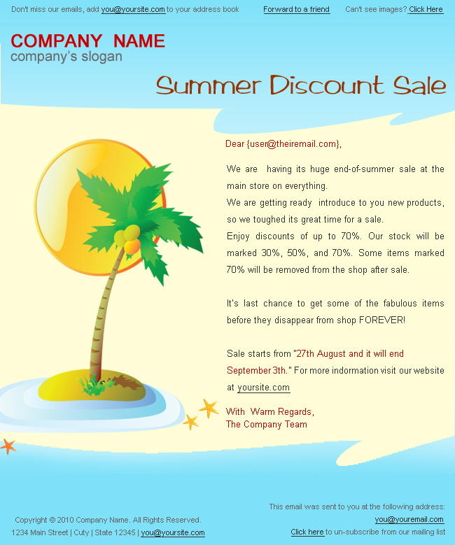 "Holiday/Summer Discount Sale Newsletter - 2styles - Screenshot2 of ""Summer discount sale"" newsletter template.
