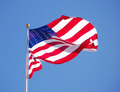 American Flag on Sky Blue, Close-Up - PhotoDune Item for Sale