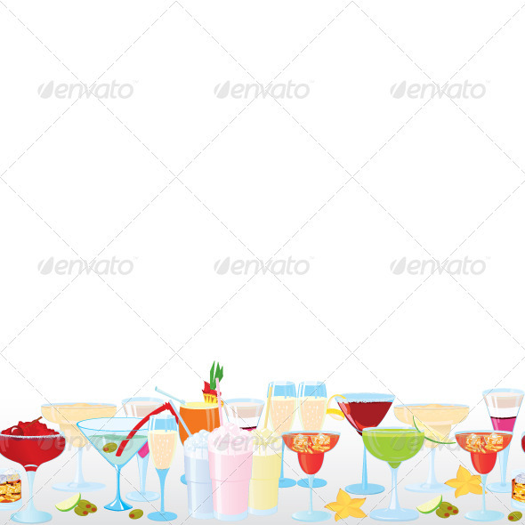 Vector Illustration of Cocktail Borders  - Textures / Fills / Patterns Illustrator