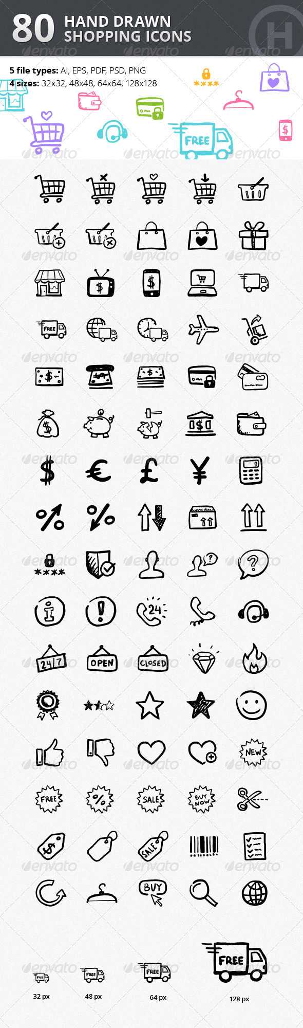 GraphicRiver 80 Hand-drawn Shopping & Commerce Icons 2895085