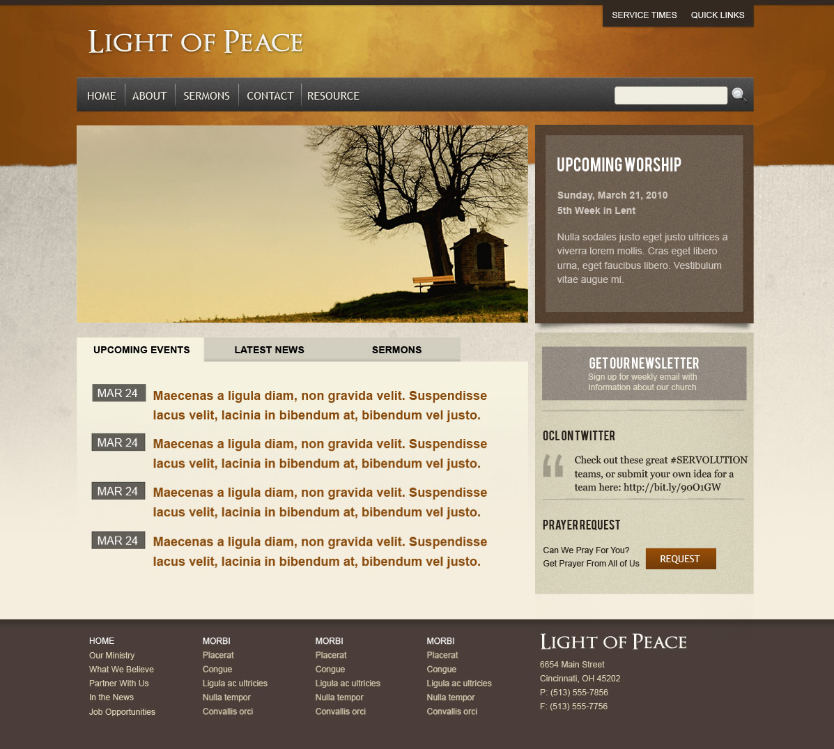 Light of Peace - This is the style 4 homepage template.