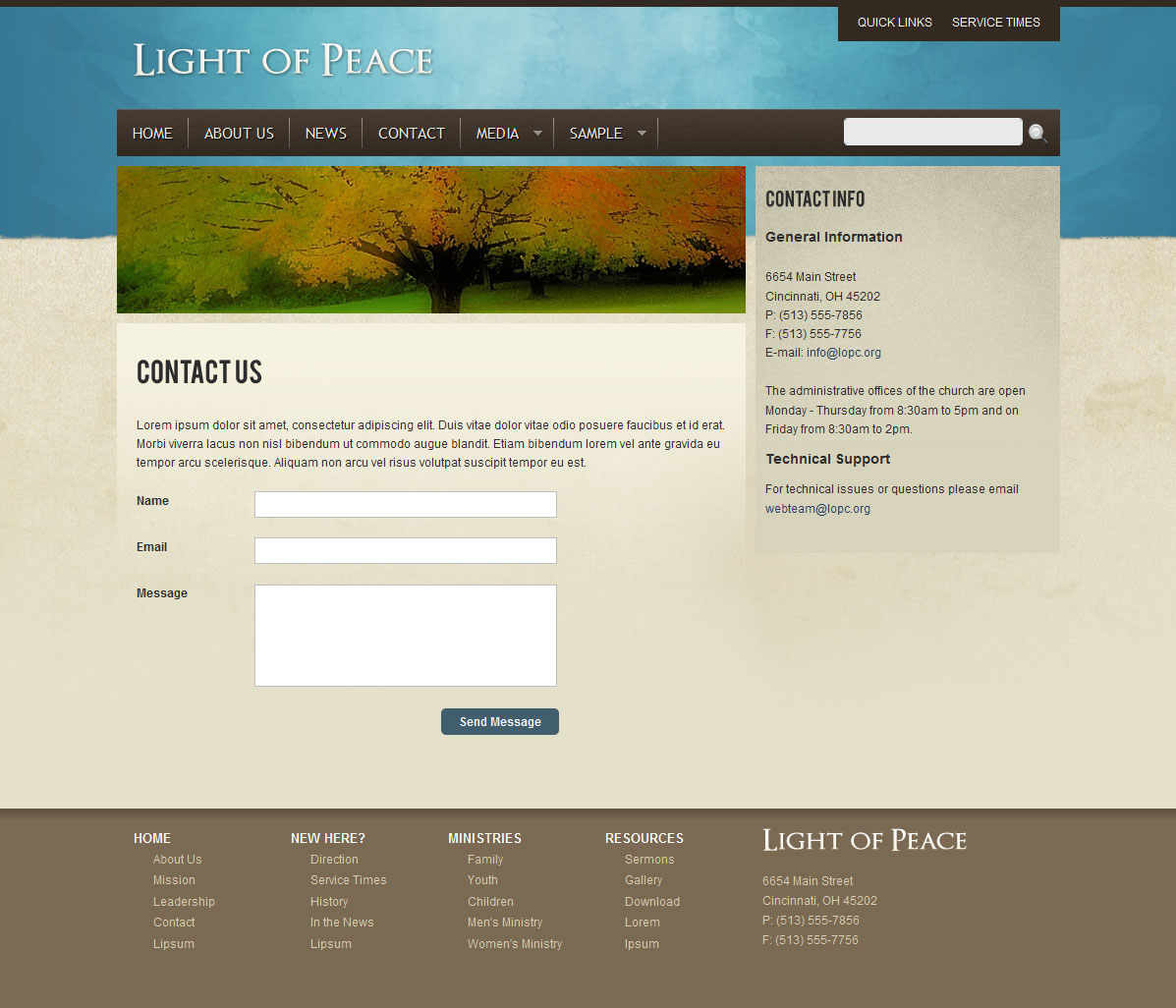 Light of Peace - This is the Contact page template with contact form.