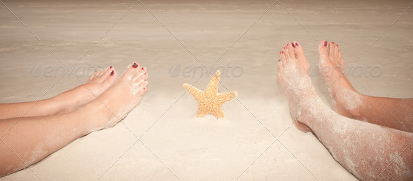 Sandy  Feet With Starfish - Stock Photo - Images