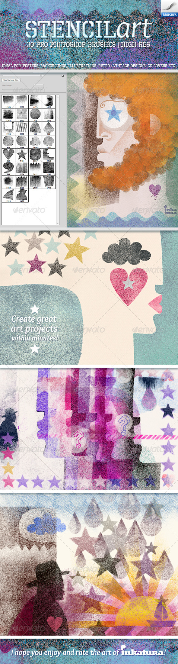 Stencil Art Brushes - Grunge Brushes