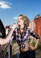 blonde girl hitchhiker - PhotoDune Item for Sale