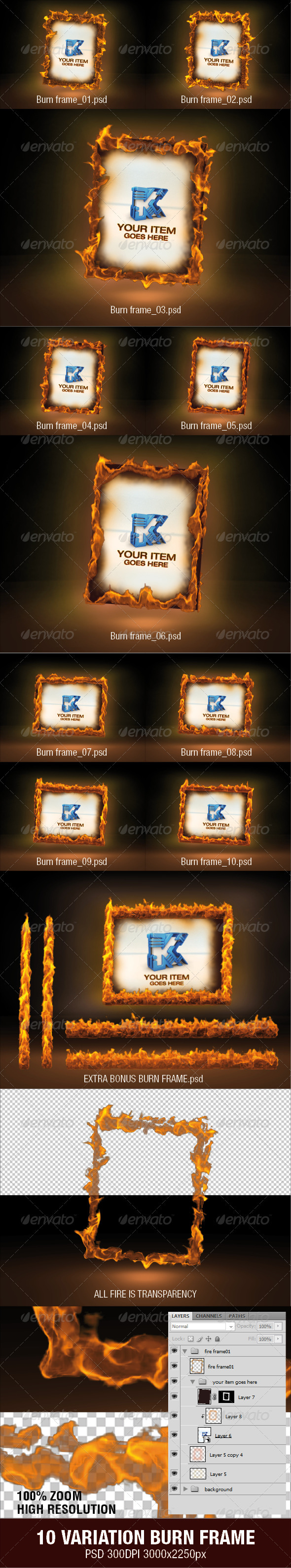 10 Variation Burn Frame - Miscellaneous Photo Templates