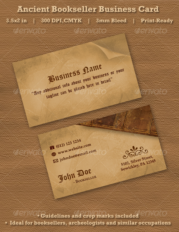 Ancient Bookseller Business Card - Retro/Vintage Business Cards
