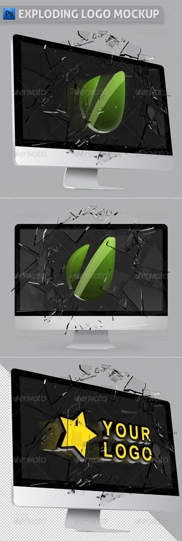 GraphicRiver Exploding Logo Mockup 2904649