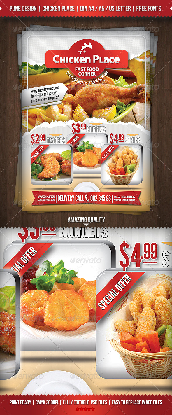 GraphicRiver Chicken Place Fast Food Flyer 2905471