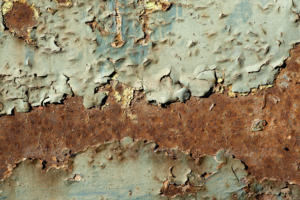 Plate of metal rusty on all background, with old layers of a pai - Stock Photo - Images