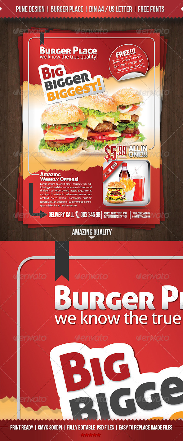 GraphicRiver Burger Place Fast Food Flyer 2906547