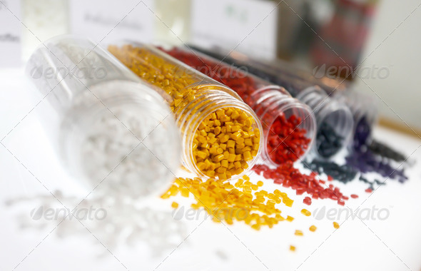 Colorful of plastic polymer granules - Stock Photo - Images