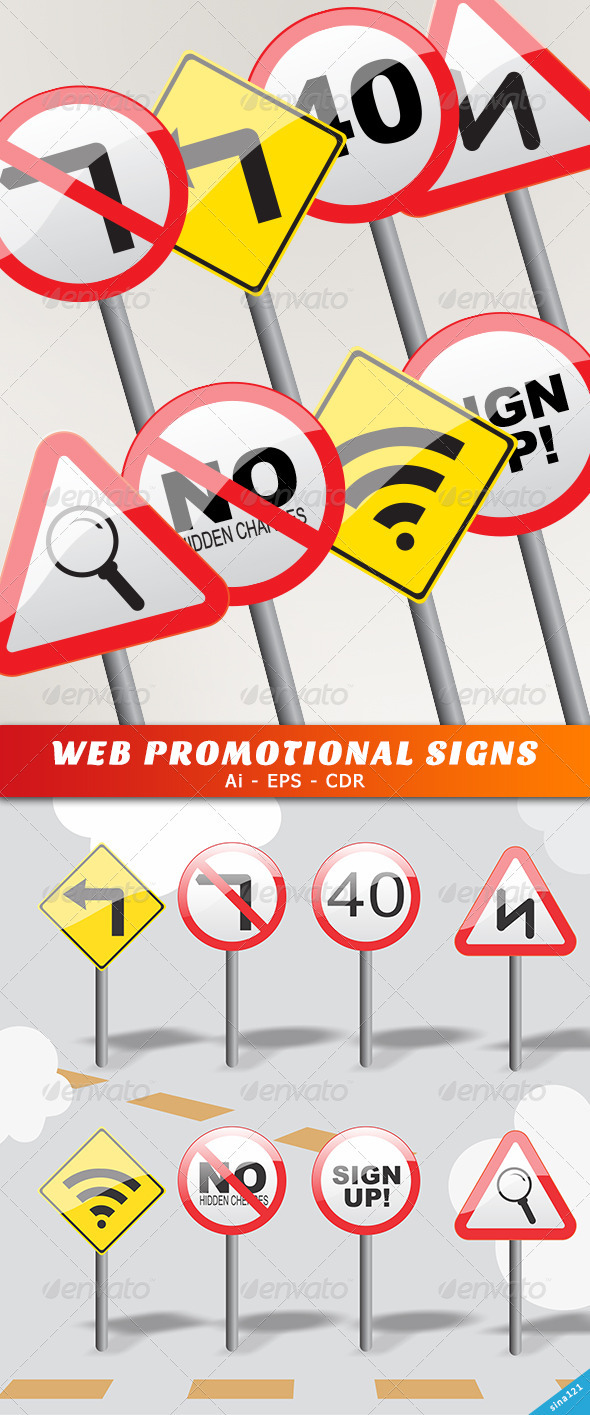 Web Promotional Signs  - Web Elements Vectors