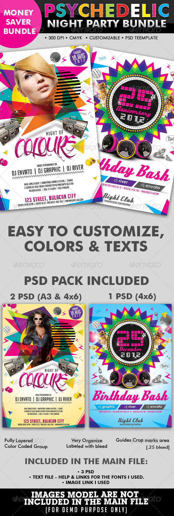Psychedelic Club/Night Party Flyer Bundle #08 - Clubs & Parties Events