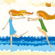 Girls Run Beach Sea - GraphicRiver Item for Sale