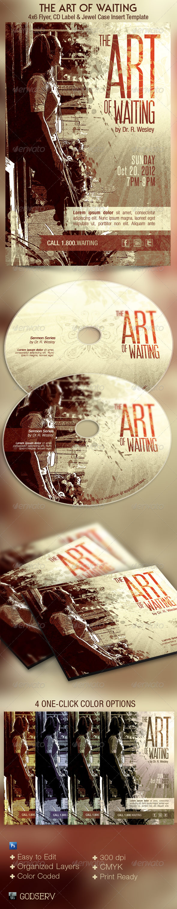 The Art of Waiting Retro Flyer and CD Template - Church Flyers