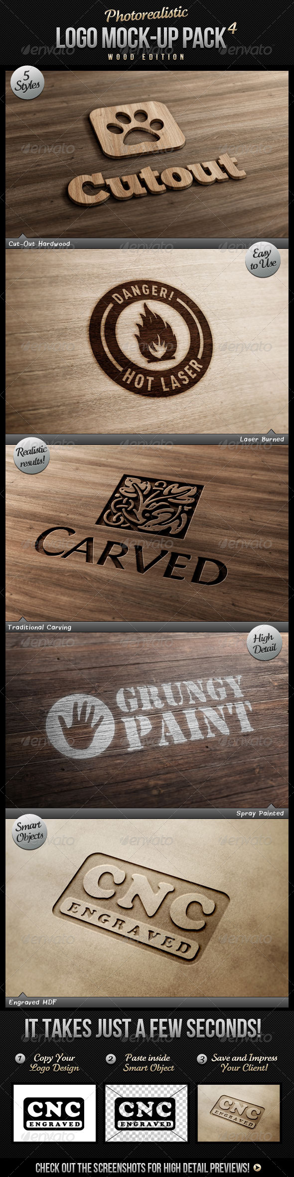 Photorealistic Logo Mock-Up Pack 4 - Wood Edition - Logo Product Mock-Ups