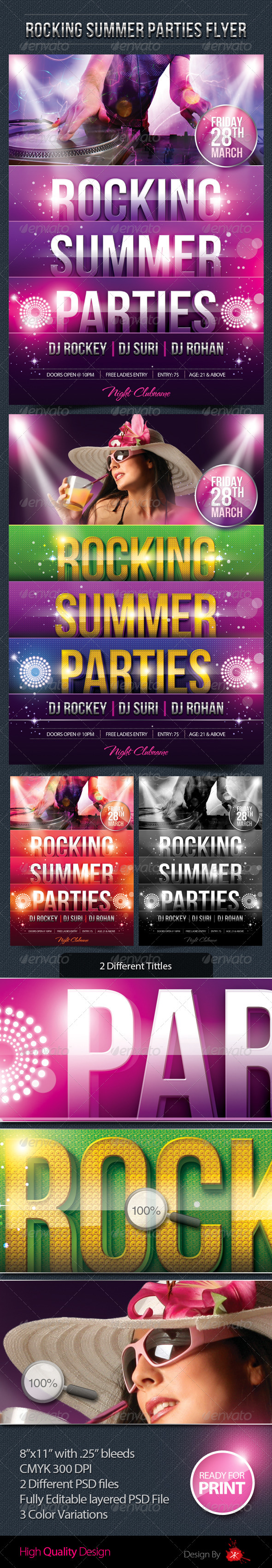 Rocking Summer Party Flyer - Clubs & Parties Events