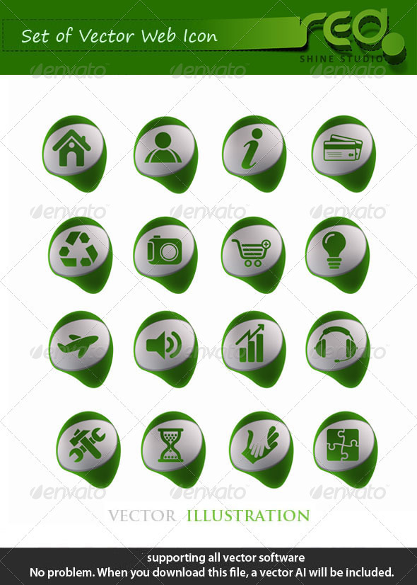 Green Web Icon Vector Mega Pack - Web Elements Vectors