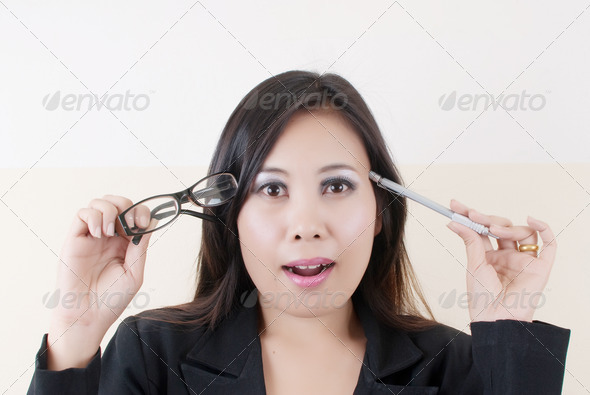 Business Lady think with work. - Stock Photo - Images