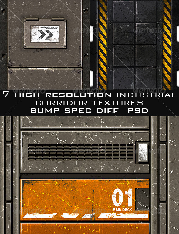 Industrial Corridor Game Texture Pack (7pcs.) - 3DOcean Item for Sale