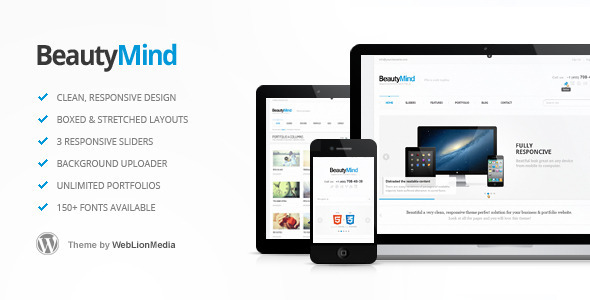 BeautyMind - Responsive and Clean WordPress Theme - Business Corporate
