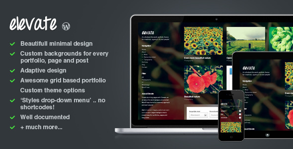 Elevate: Background Oriented Portfolio WP Theme