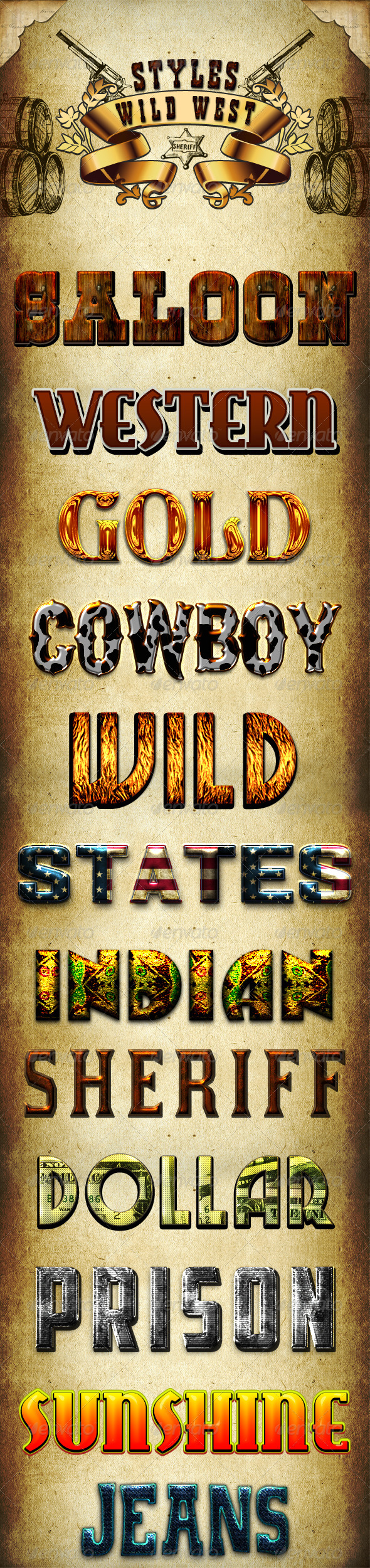 Wild West Styles - Text Effects Styles
