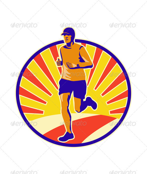 Marathon Runner Athlete Running  - Sports/Activity Conceptual