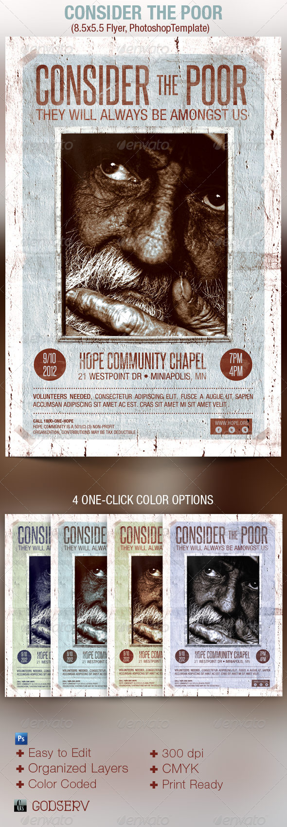 Consider The Poor Charity Organization Flyer  - Church Flyers