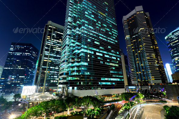 office buildings at night - Stock Photo - Images
