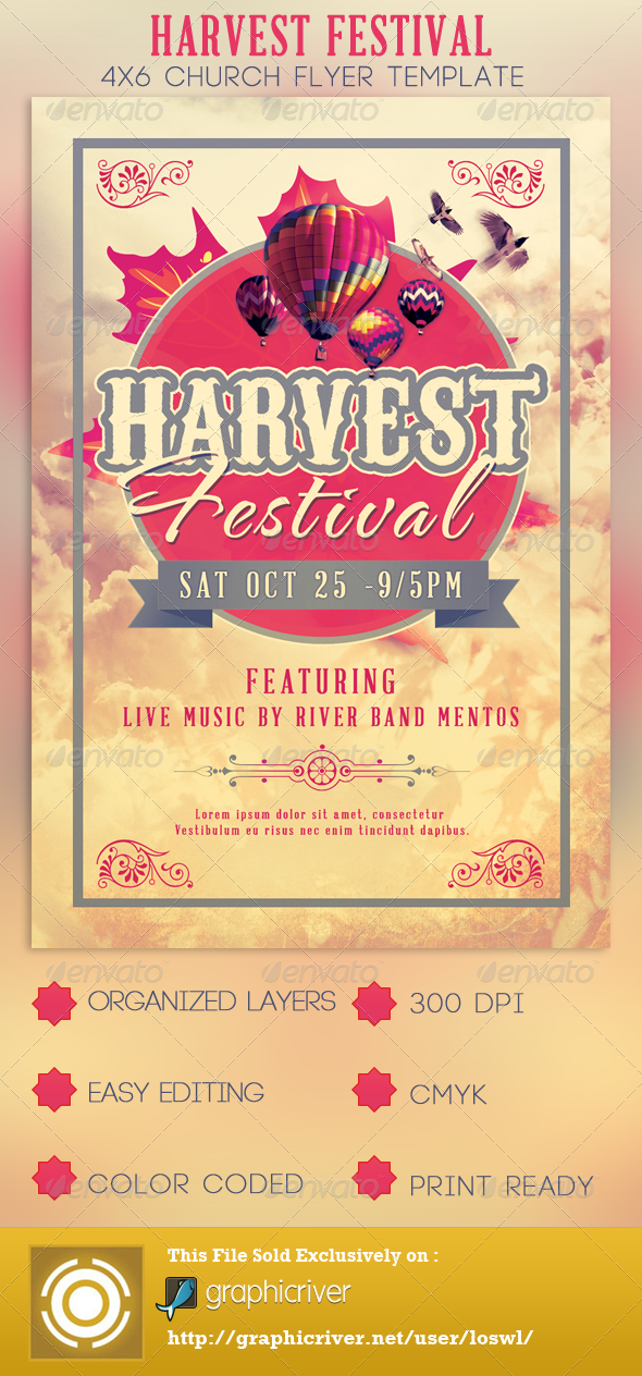 GraphicRiver Harvest Festival Church Flyer Template 2925085