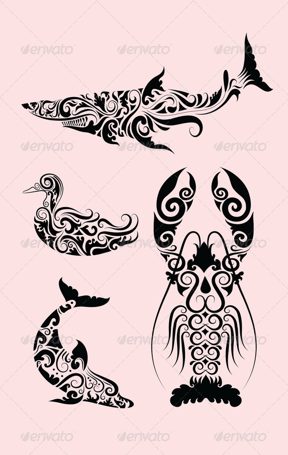 Animal ornaments (duck, shark, lobster, dolphin) - Flourishes / Swirls Decorative