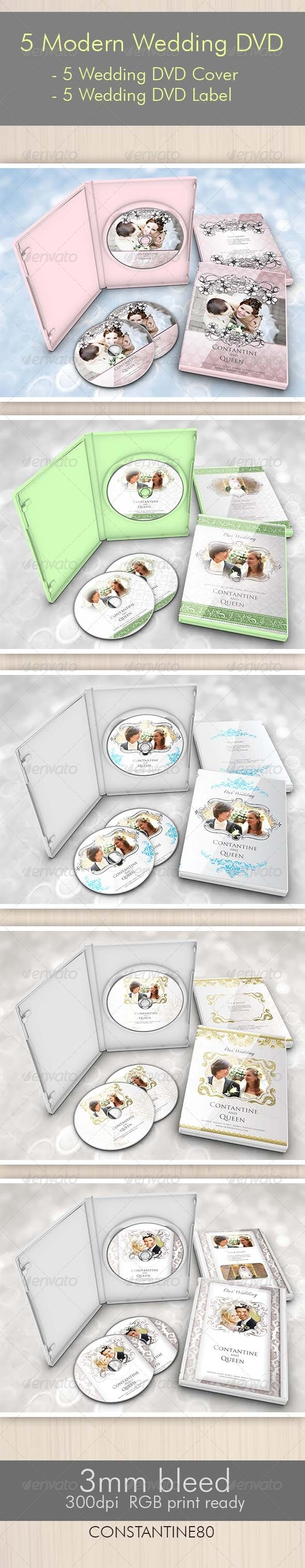 5 Items Modern Wedding DVD - CD & DVD artwork Print Templates