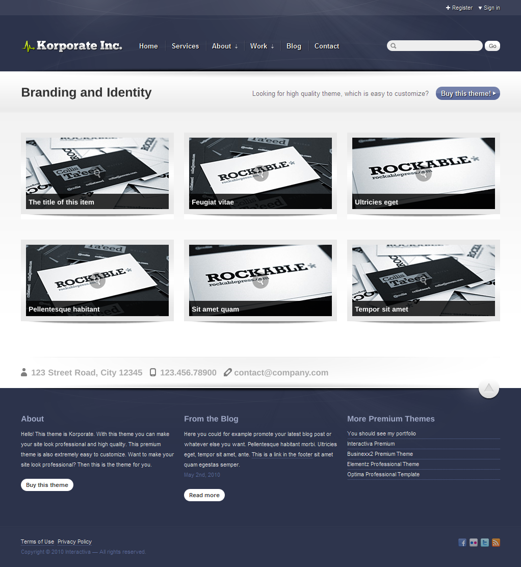 Korporate - Business and Corporate - Work page in purple color theme