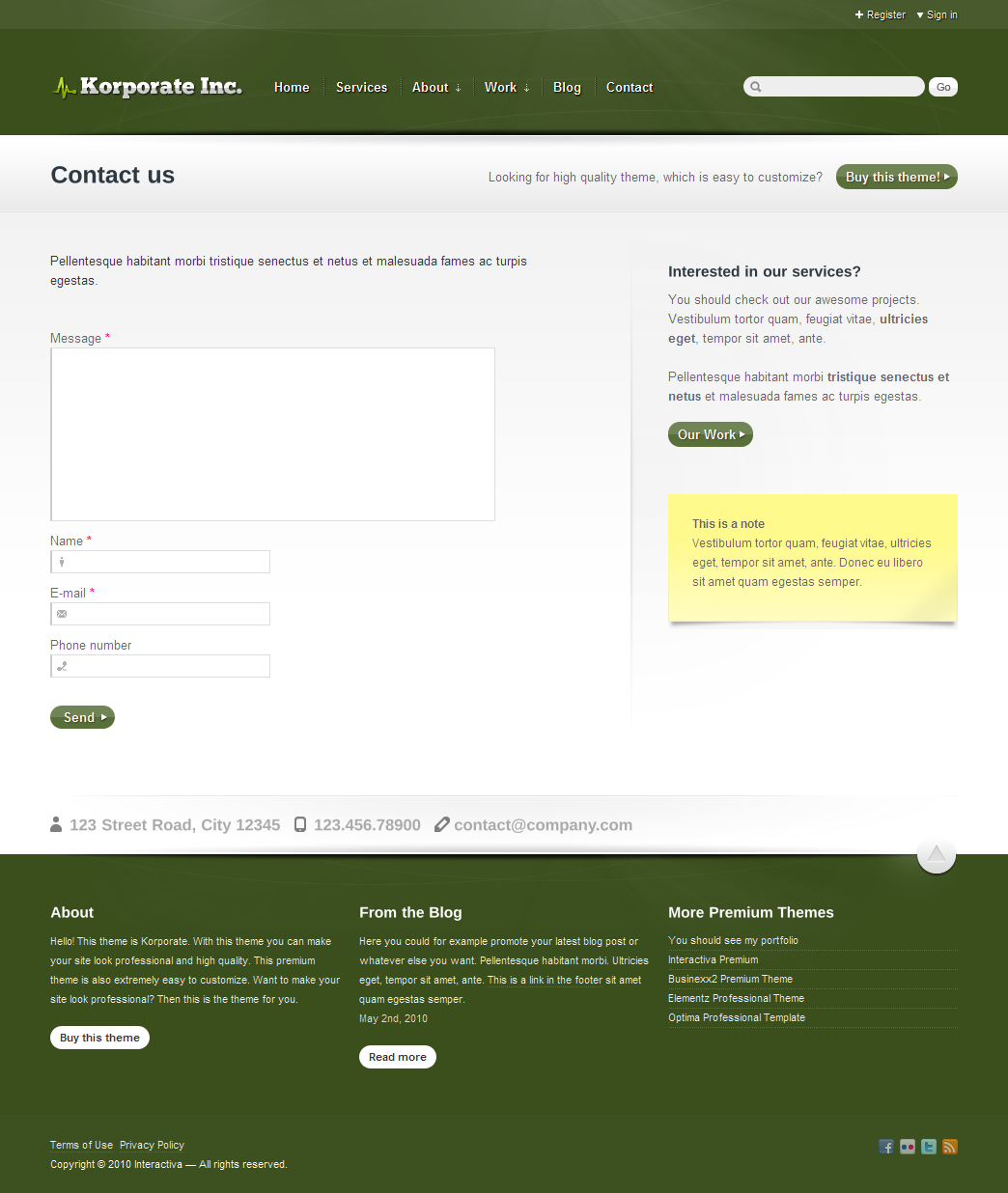 Korporate - Business and Corporate - Contact page in green color theme