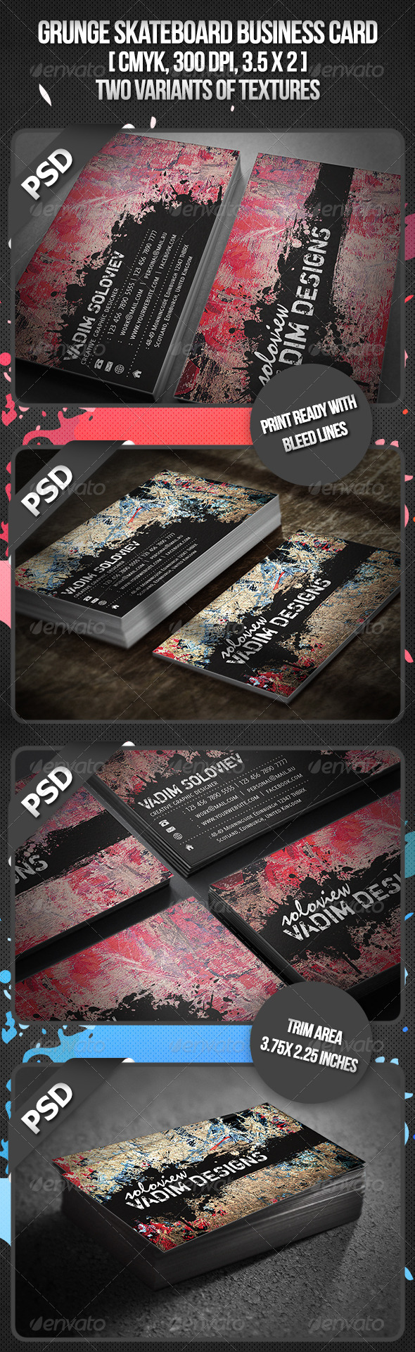 Grunge Skateboard Business Card - Grunge Business Cards