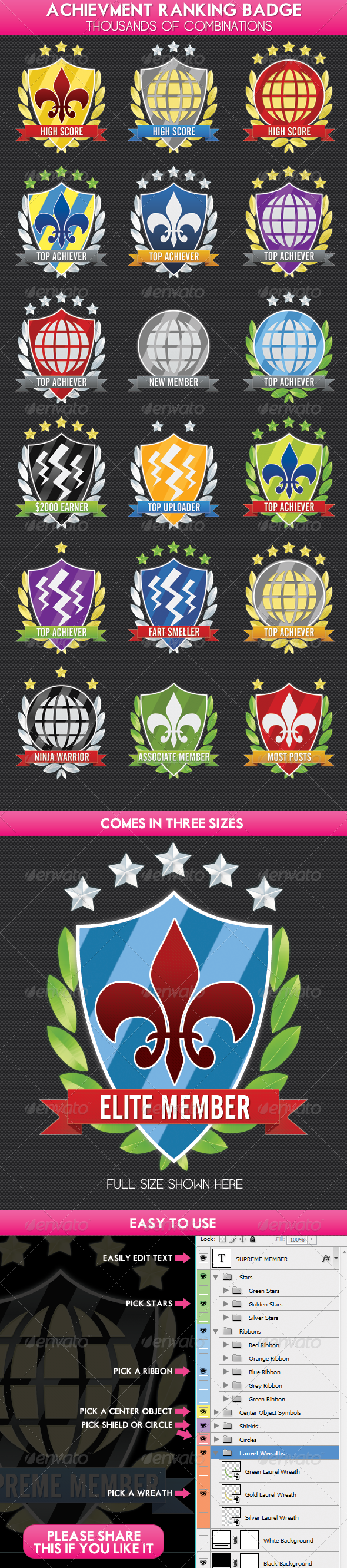 Achievment, Ranking, Experience Shield Award Badge - Badges &amp; Stickers Web Elements