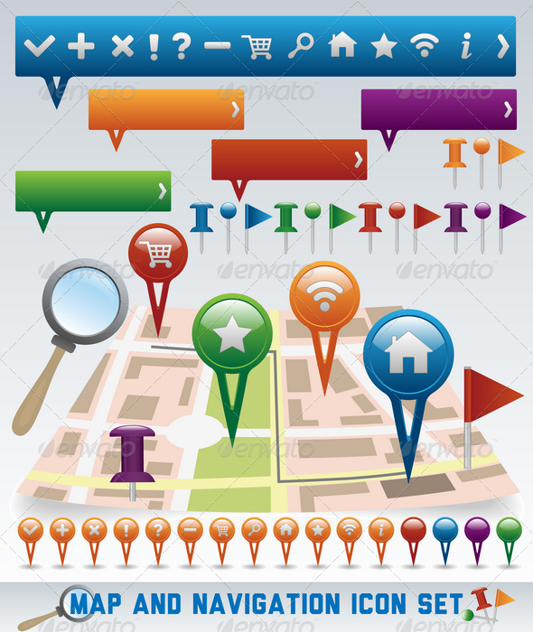 Map and Navigation icon set - Web Technology