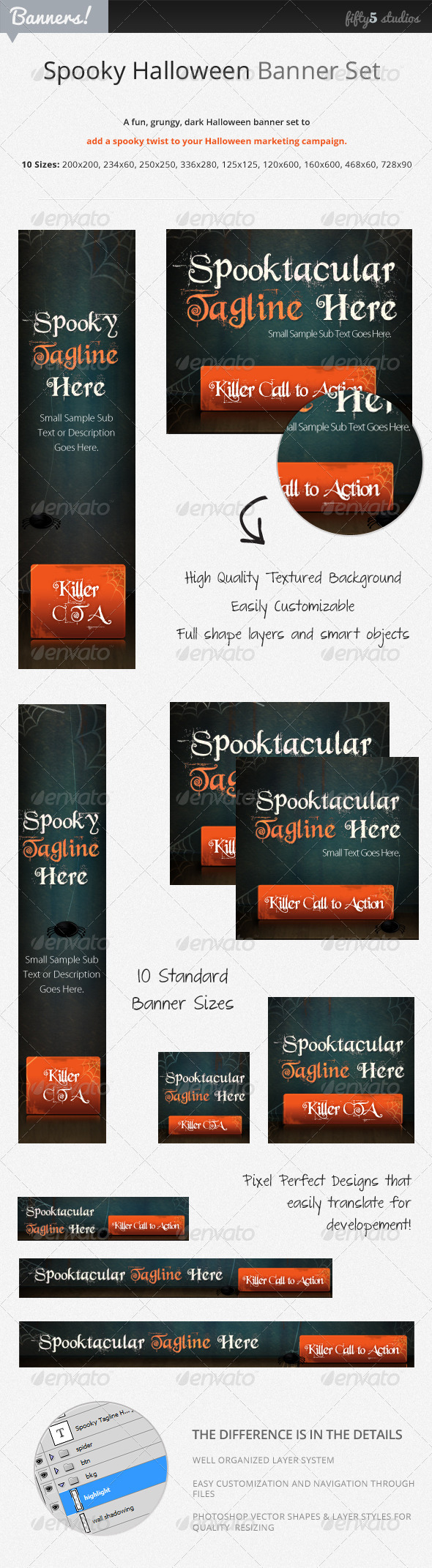 Spooky, Fun Halloween Banner Set - Banners & Ads Web Elements