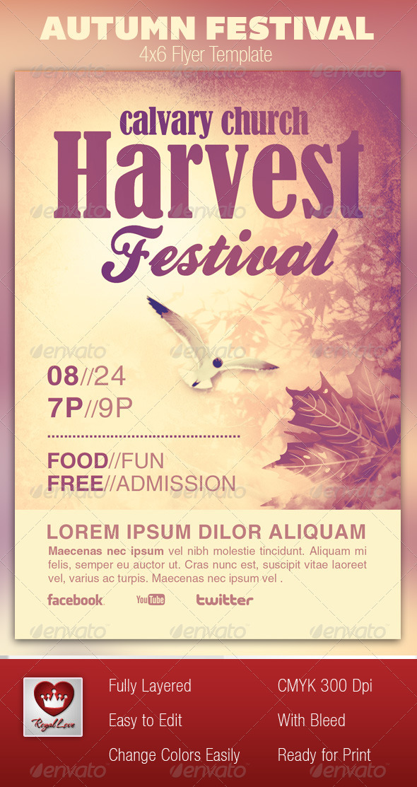 Autumn Festival Church Flyer Template - Church Flyers